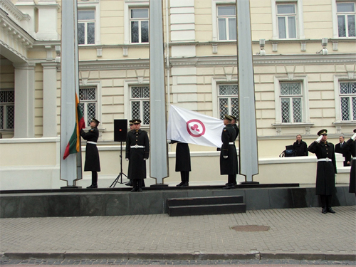 On 15th of April 15 at 10 a.m. at a building of Ministry of Defense were holily hoisted a national flag of Lithuania and the Banner of Peace.